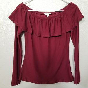 Ultra Flirt Burgandy Off The Shoulder Blouse